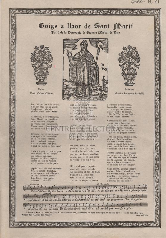 Goigs a llaor de Sant Martí patró de la parròquia de Granera (Bisbat de Vic)