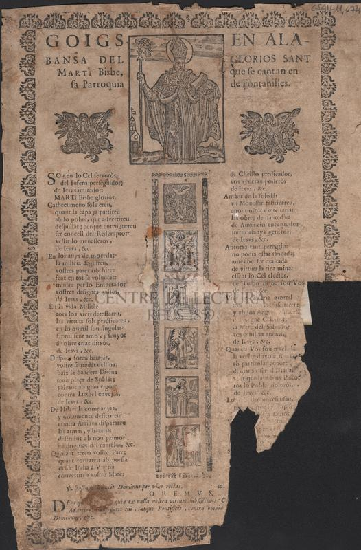 Goigs en alabansa del glorios Sant Marti Bisbe, que se cantan en sa Parroquia de Fontanilles