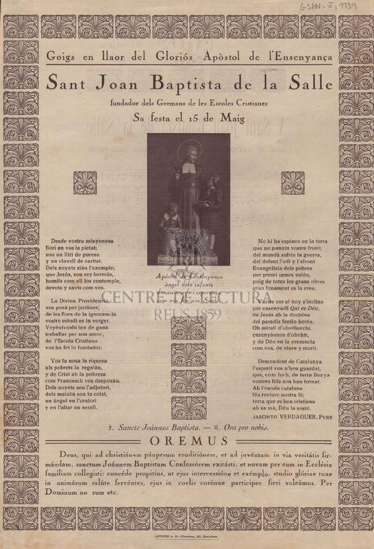 Goigs en llaor del Gloriós Apòstol de l'Ensenyança Sant Joan Baptista de la Salle, fundador dels Germans de les Escoles Cristianes, Sa festa el 15 de Maig
