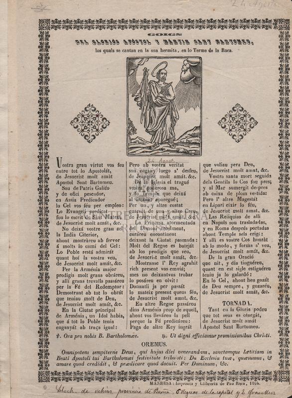 Goigs del gloriós apóstol y mártir Sant Bartomeu, los quals se cantan en la sua hermita, en lo Terme de la Roca