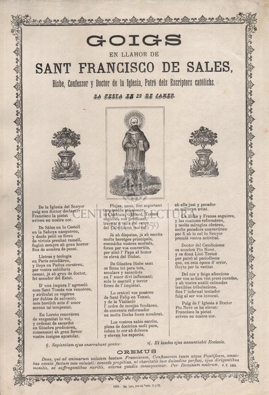 Goigs en llahor de sant Francisco de Sales, Bisbe, Confessor y Doctor de la Iglesia, Patró dels Escriptors católichs, sa festa en 29 de janer