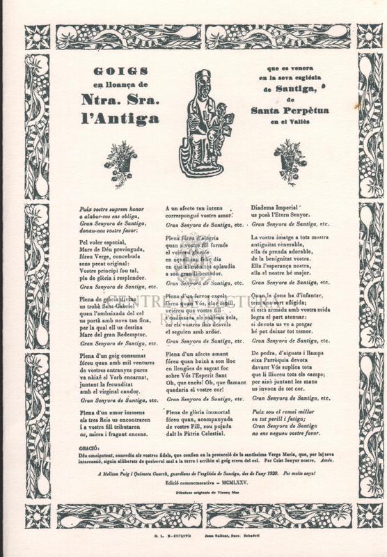 Goigs en lloança de Ntra. Sra. l'Antiga que es venera en la seva església de Santiga, de Santa Perpètua en el Vallès.