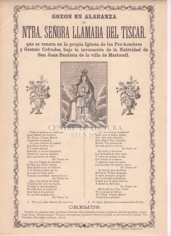 Gozos en alabanza de Ntra. Senyora llamada del Tiscar, que se venera en la propia Iglesia de los Pro-hombres y Gremio Cofrades, bajo la invocación de la Natividad de San Juan bautista de la Villa de Martorell