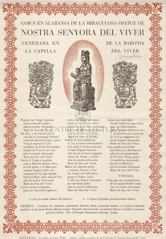 Goigs en alabansa de la miraculosa imatge de Nostra Senyora del Viver venerada en la Capella de la Varonia del Viver