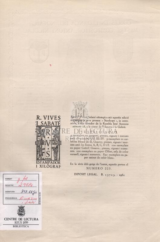 Cobles en lloança del notable mestre compositor Antoni Nicolau.
