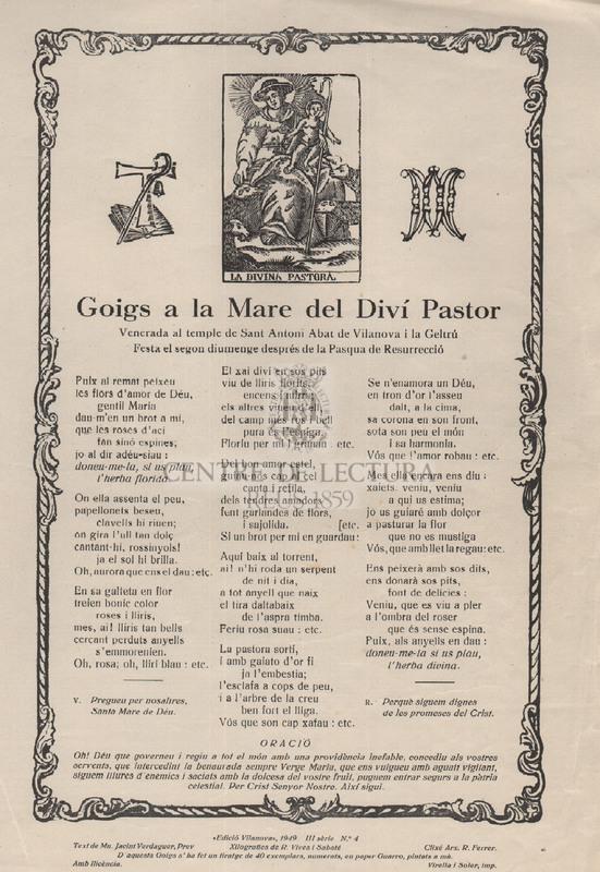 Goigs a la Mare del Diví Pastor Venerada al temple de Sant Antoni Abat de Vilanova i la Geltrú Festa el segon diumenge després de la Pasqua de Resurrecció