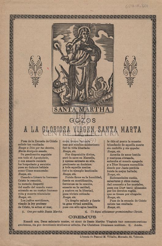 Gozos a la gloriosa virgen Santa Marta