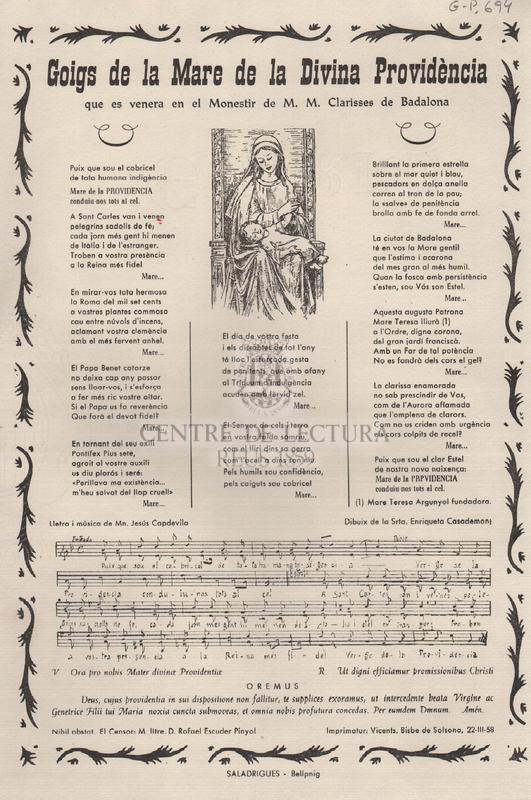 Goigs de la Mare de la Divina Providència que es venera en el Monestir de M.M. Clarisses de Badalona.