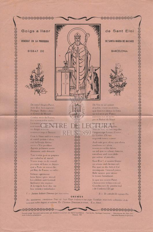 Goigs a llaor de Sant Eloi venerat en la Prroquia de Santa Maria de Mataró, Bisbat de Barcelona