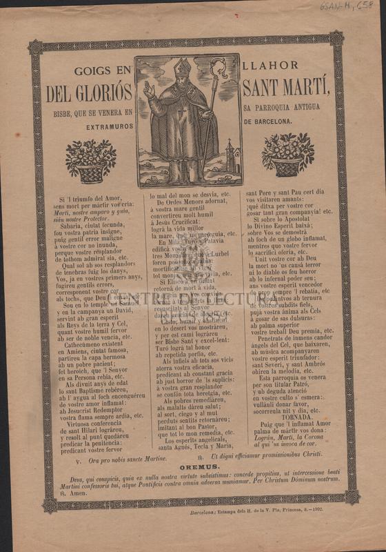 Goigs en llahor del gloriós Sant Martí, Bisbe, que se venera en sa parroquia antigua extramuros de Barcelona
