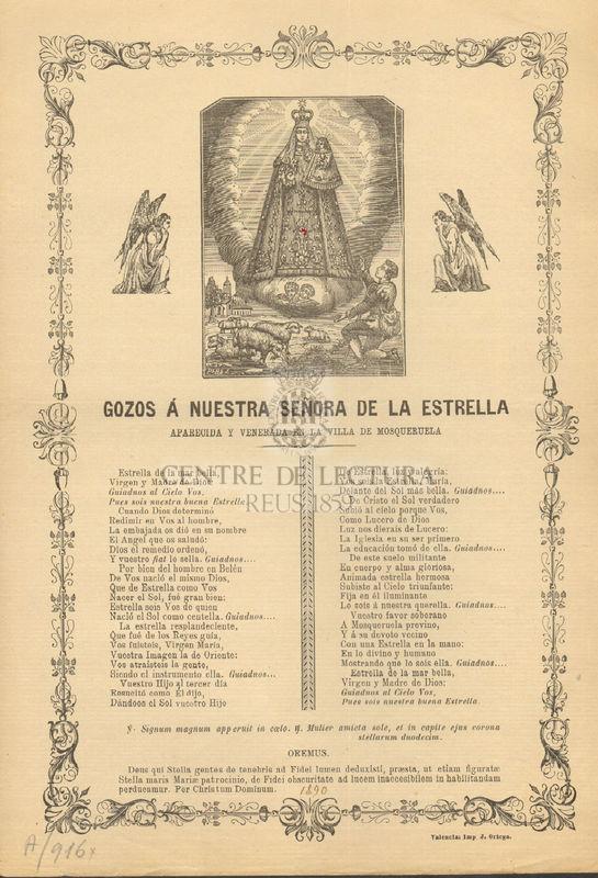 Gozos á Nuestra Señora de la Estrella aparecida y venerada en la villa de Mosqueruela