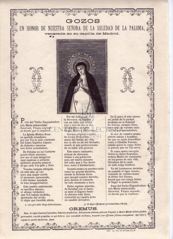 Gozos en honor de Nuestra Señora de la Soledad de la Paloma, venerada en su capilla de Madrid