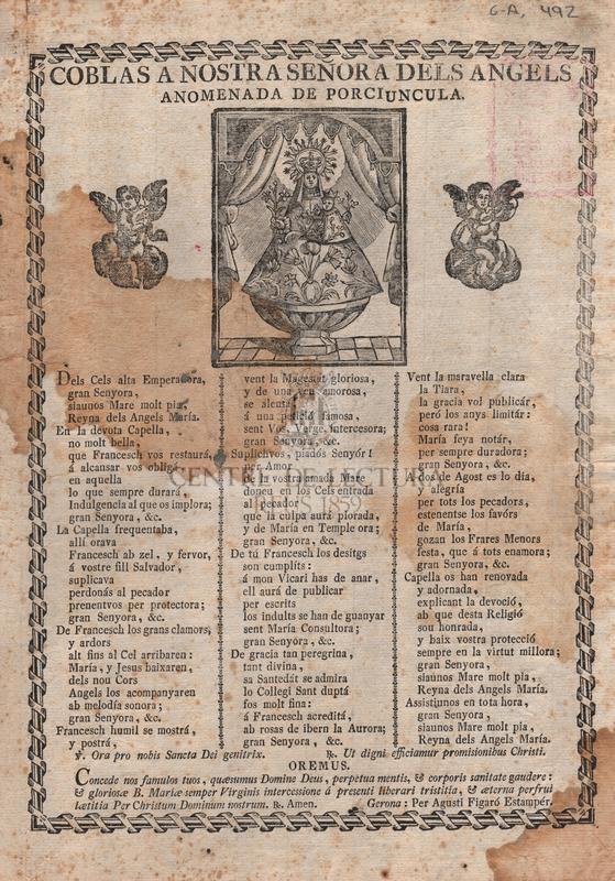 Coblas a Nostra Señora dels Àngels anomenada de Porciuncula