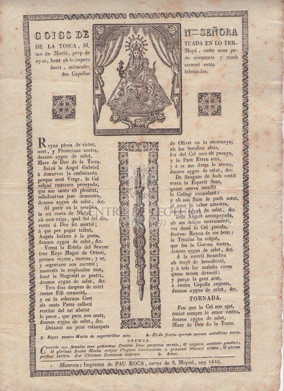 Goigs de Ntra. Señora de la Tosca, situada en lo terme de Marfá, prop de Moyá, entre unas penyas, hont ab lo impetu de cinquanta y einch fonts, miraculosament están dos Capellas fabricadas
