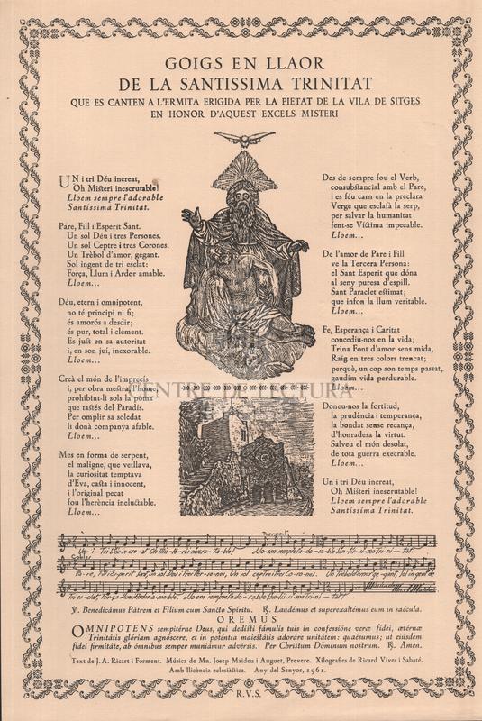 Goigs en llaor de la Santissima Trinitat que es canten a l'ermita erigida per la pietat de la vila de Sitges en honor d'aquest excels misteri