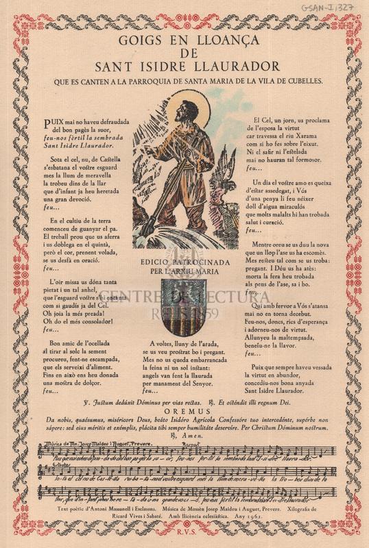 Goigs en lloança de sant Isidre Llaurador que es canten a la parròquia de Santa Maria de la vila de Cubelles