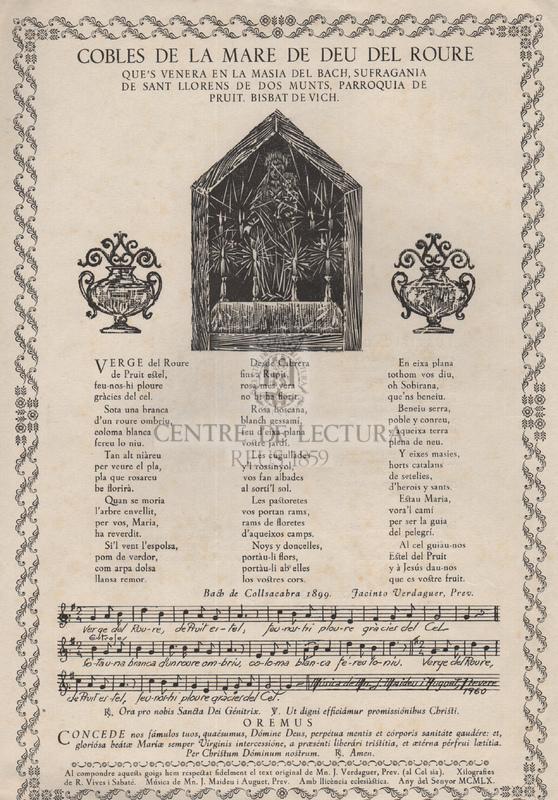Cobles de la Mare de Déu del Roure que's venera en la masia del Bach, sufragania de Sant Llorens de Dos Munts, parroquia de Pruit, Bisbat de Vich.