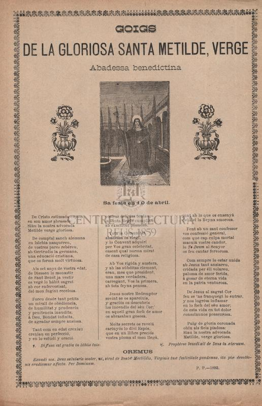 Goigs de la gloriosa santa Metilde, verge, Abadessa benedictina