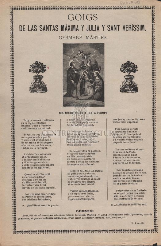 Goigs de les santas Máxima y Julia y Sant Veríssim, germans mártirs. Sa festa en lo 1 de Octubre.
