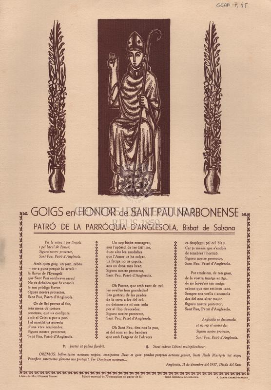 Goigs en honor de Sant Pau Narbonense Patró de la Parróquia d'Anglesola, Bisbat de Solsona.