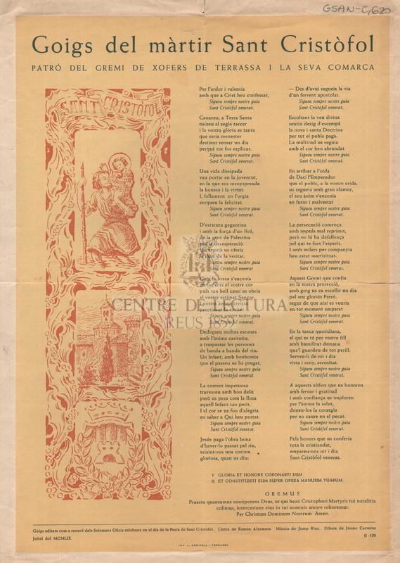 Goigs del màrtir San Cristòfol patró del Gremi de Xofers de Terrassa i la seva Comarca