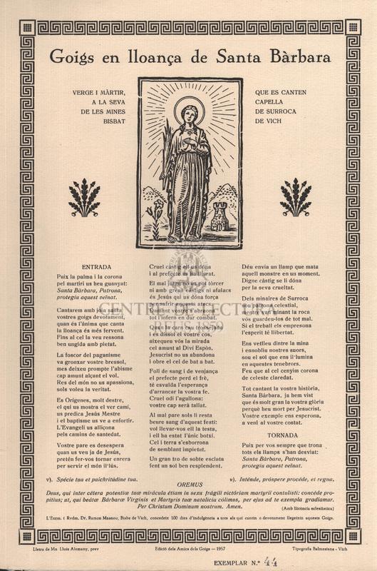 Goigs en lloança de Santa Bàrbara, verge i màrtir, que es canten a la seva capella de Les Mines de Surroca, bisbat de Vich