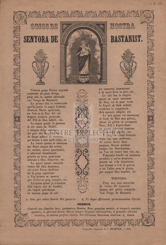 Goigs de Nostra Senyora de Bastanist