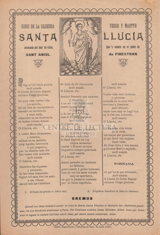 Goigs de la gloriosa verge y martyr santa Llucia, advocada pel mal de vista, Que 's venera en el poble de sant Aniol de Finestras