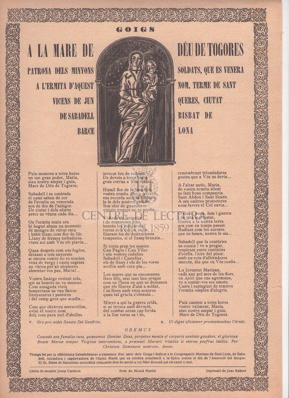 Goigs a la Mare de Déu de Togores patrona del minyons soldats, que es venera a l'Ermita d'aquest nom, terme de Sant Vicens de Junqueres, ciutat de Sabadell Bisbat de Barcelona