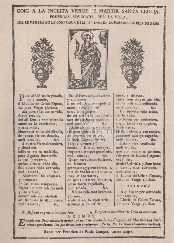 Goig a la inclita verge y martir santa Llucia, poderosa advocada, per la vista, que se venéra en la confraria dels pagesos en la parroquial vila de Reus