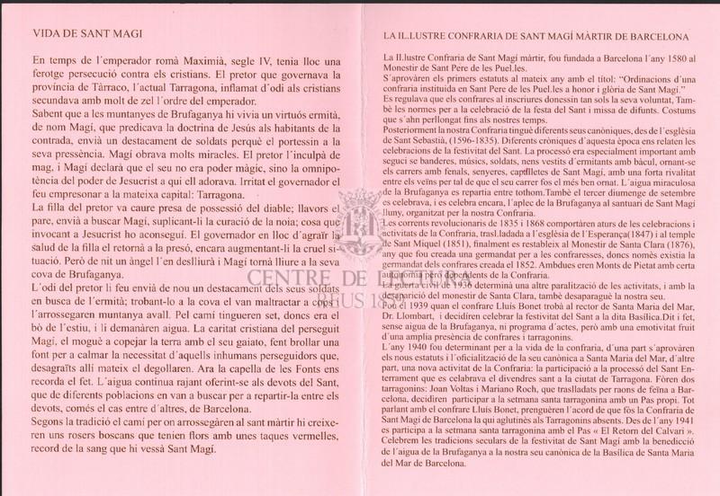Goigs de Sant Magí, anacoreta i màrtir a Brufaganya