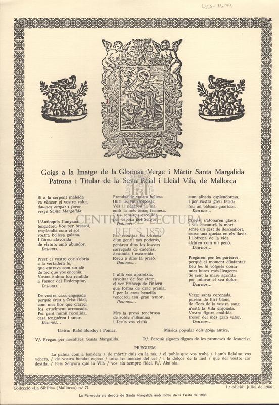 Goigs a la Imatge de la Gloriosa Verge i Màrtir Santa Margalida Patrona i Titular de la Seva Reial i Lleial Vila, de Mallorca
