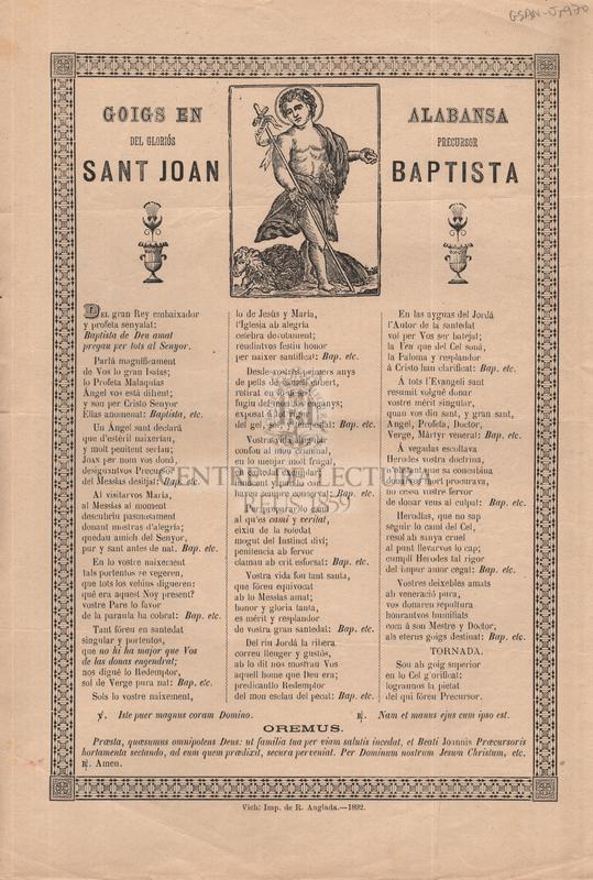 Goigs en alabansa del gloriós precursor sant Joan Baptista