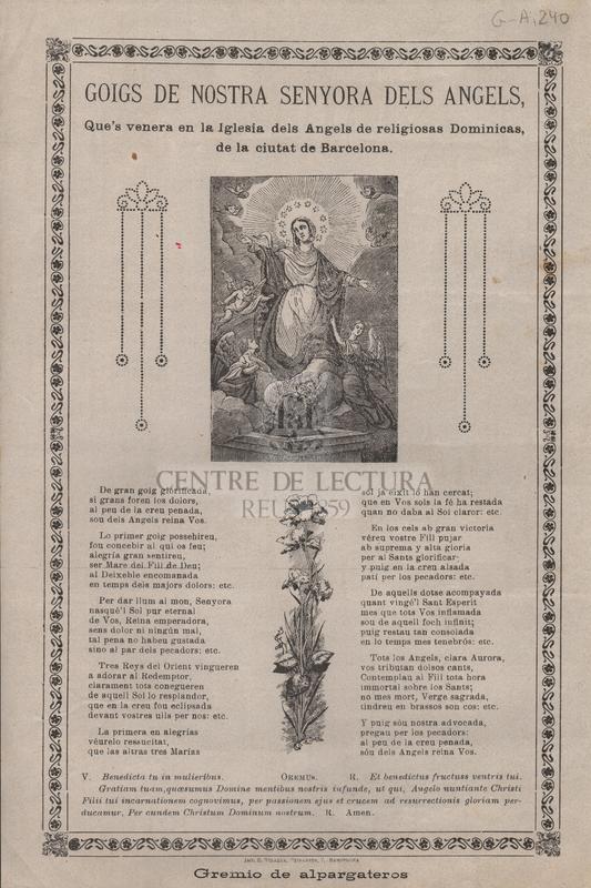 Goigs de Nostra Senyora dels Angels, Que's venera en la Iglesia dels Angels de religiosas Dominicas, de la ciutat de Barcelona