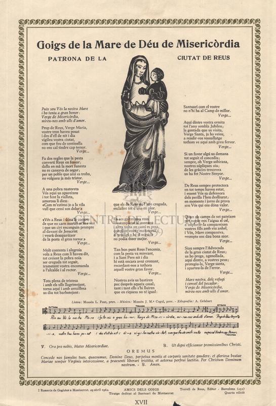 Goigs de la Mare de Déu de Misericòrdia patrona de la ciutat de Reus