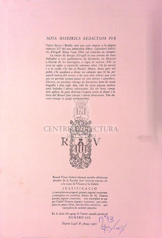Goigs en lloança de Sant Salvador que es venera a la seva antiga ermita i parroquia de Borges Blanques