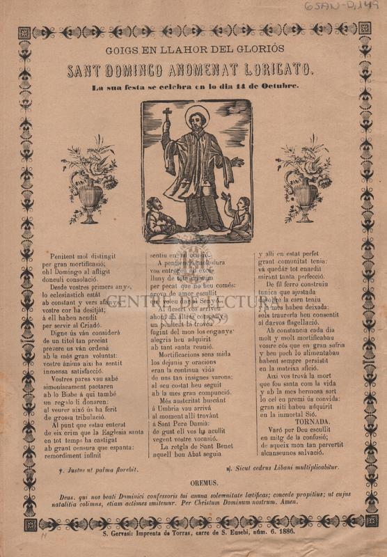 Goigs en llahor del gloriós Sant Domingo anomenat Lorigato. La sua festa se celebra en lo dia 11 de Octubre