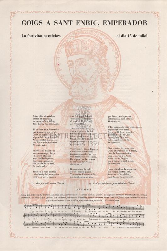 Goigs a Sant Enric, emperador. La festivitat es celebra el dia 15 de juliol