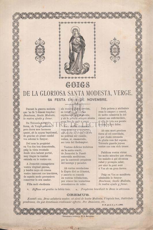 Goigs de la gloriosa santa Modesta, verge, sa festa en 4 de novembre