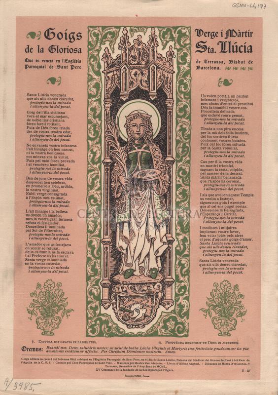 Goigs de la Gloriosa Verge i Màrtir Sta. Llúcia que es venera en l'Església Parroquial de Sant Pere de Terrassa, Bisbat de Barcelona.