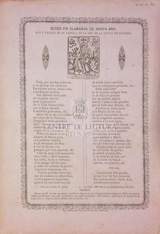 Goigs en alabansa de Santa Ana, que s' cantan en sa capella de la seu de la ciutat de Manresa