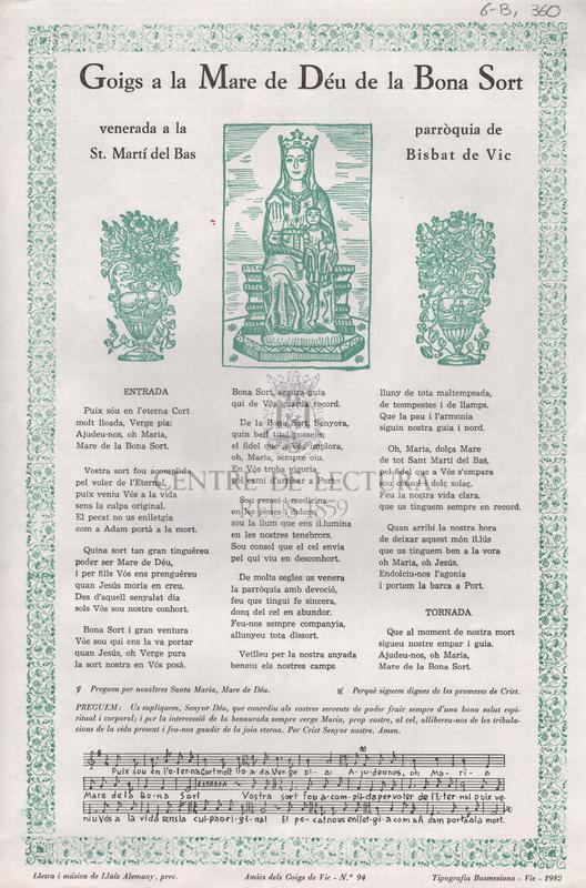 Goigs a la Mare de Déu de la Bona Sort venerada a la parròquia de St. Martí del Bas. Bisbat de Vic