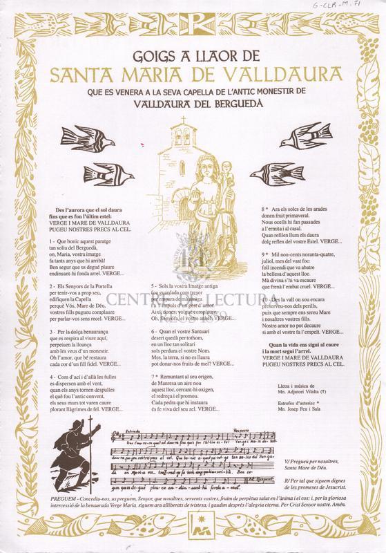 Goigs a llaor de Santa Maria de Valldaura que es venera a la seva capella de l'antic Monestir de Valldaura del Berguedà