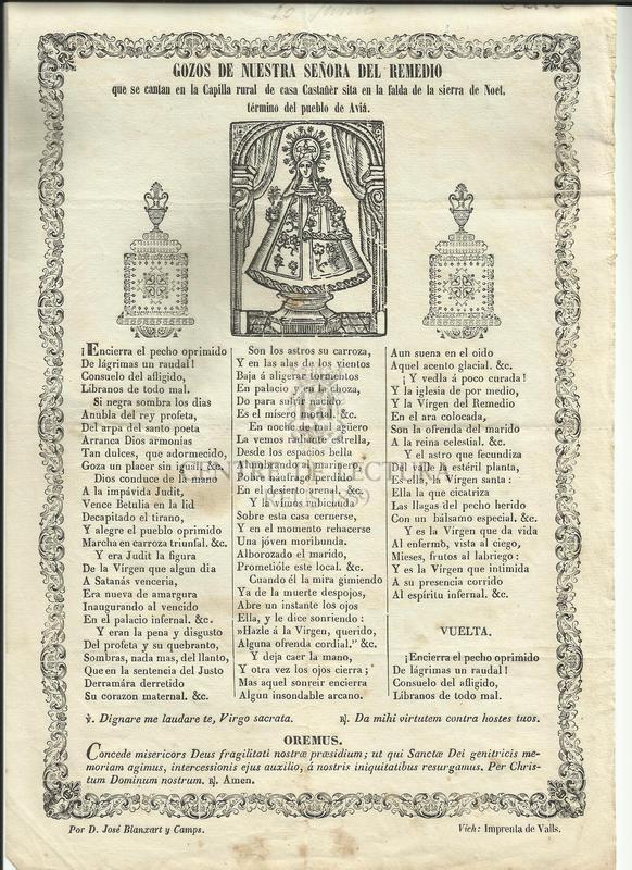 Gozos de Nuestra Señora del Remedio que se cantan en la Capilla rural de casa Castañér sita en la falda de la sierra de Noet, término de puble de Aviá