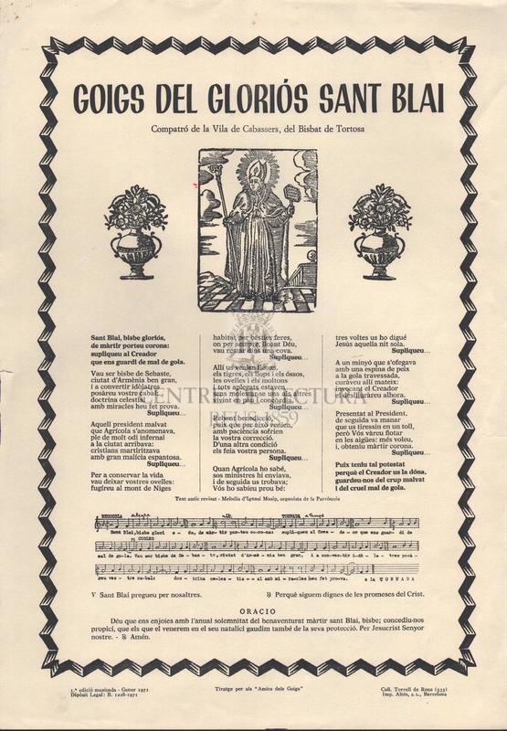 Goigs del gloriós Sant Blai. Compatró de la Vila de Cabassers, del Bisbat de Tortosa