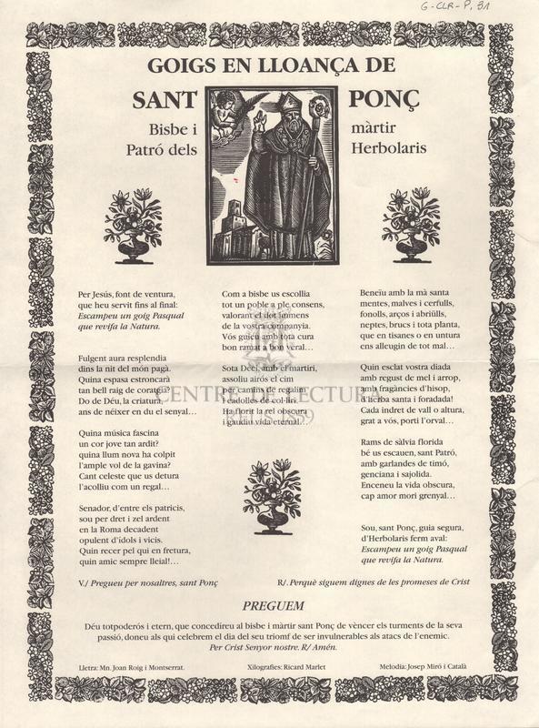 Goigs en lloança de Sant Ponç, bisbe i màrtir, patró dels herbolaris