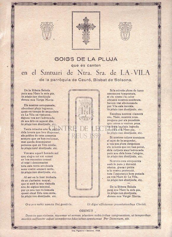 Goigs de la pluja que es canten en el Santuari de Ntra. Sra. de La-Vila de la Parròquia de Ceuró, Bisbat de Solsona