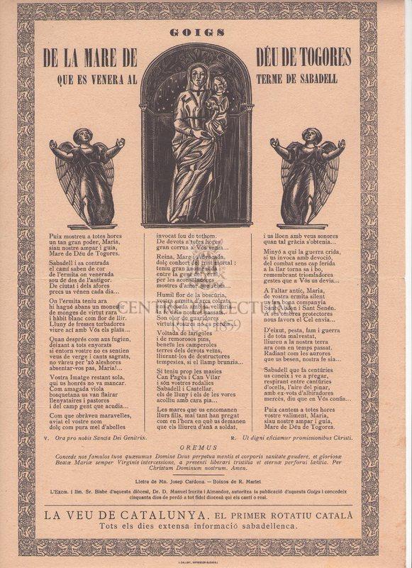 Goigs de la Mare de Déu de Togores que es venera al terme de Sabadell