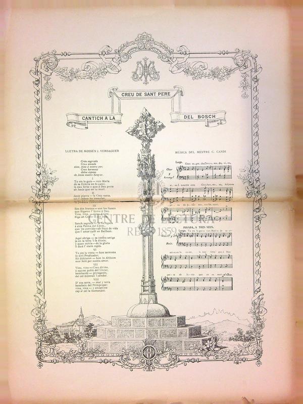 Cantich a la Creu de Sant Pere del Bosch [i] Goigs en llahor de Nostra Senyora de Gracia que se venera en la capella de Sant Pere del Bosch, del terme de Lloret de Mar, Bisbat de Gerona