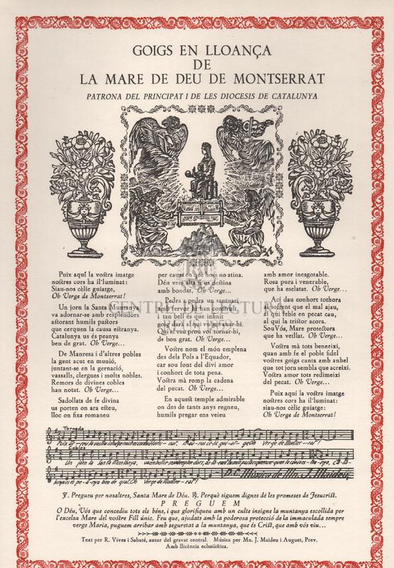 Goigs en lloança de la Mare de Déu de Montserrat, Patrona del Principat i de les diòcesis de Catalunya.